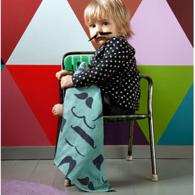 Molly-Meg Mustache Muslin Blanket 