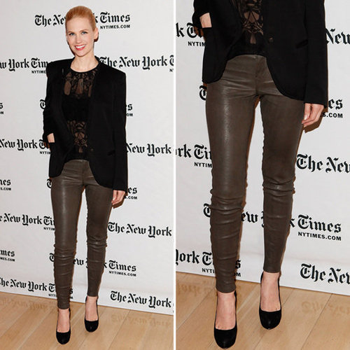 January Jones Brown Leather Pants