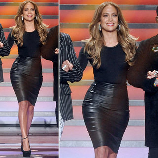 Jennifer Lopez Black Leather Skirt on American Idol