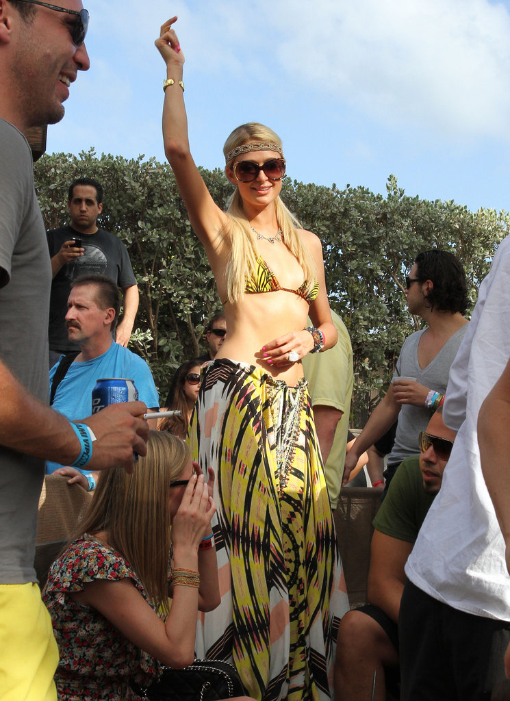 Paris Hilton danced on a couch while hanging out in Miami.