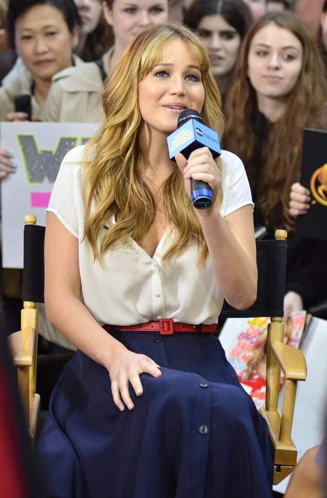 Jennifer Lawrence picked up a microphone for a chat on Good Morning America.
