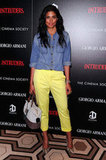Rachel Roy's snakeskin pumps dressed up her denim topper and bright trousers for an evening out.
