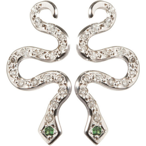 Ileana Makri Diamond Little Snake Earrings