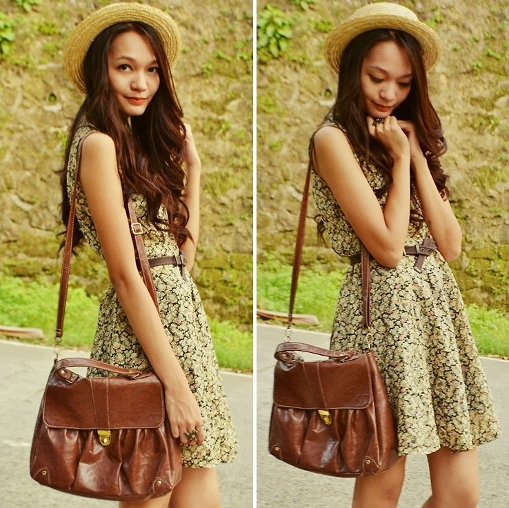 A pretty Spring ensemble amped up with a straw hat and menswear-inspired satchel.  Photo courtesy of Lookbook.nu