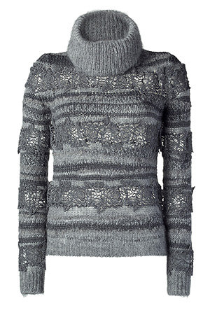 Vanessa Bruno - Grey Wool and Crochet Lace Turtleneck Sweater