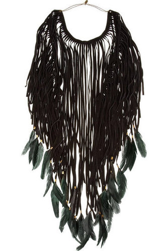Isabel Marant Dakota feather-embellished suede necklace - 50% Off Now at THE OUTNET