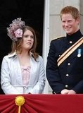 Princess Eugenie shows off a fascinator with cousin Prince Harry during the queen's birthday parade in 2006.