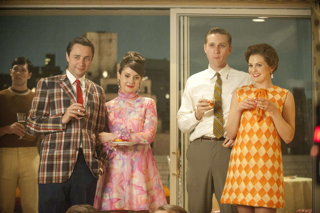 Vincent Kartheiser as Pete Campbell, Alison Brie as Trudy Campbell, Aaron Staton as Ken Cosgrove, and Larisa Oleynik as Cynthia Cosgrove on Mad Men.  Photo courtesy of AMC