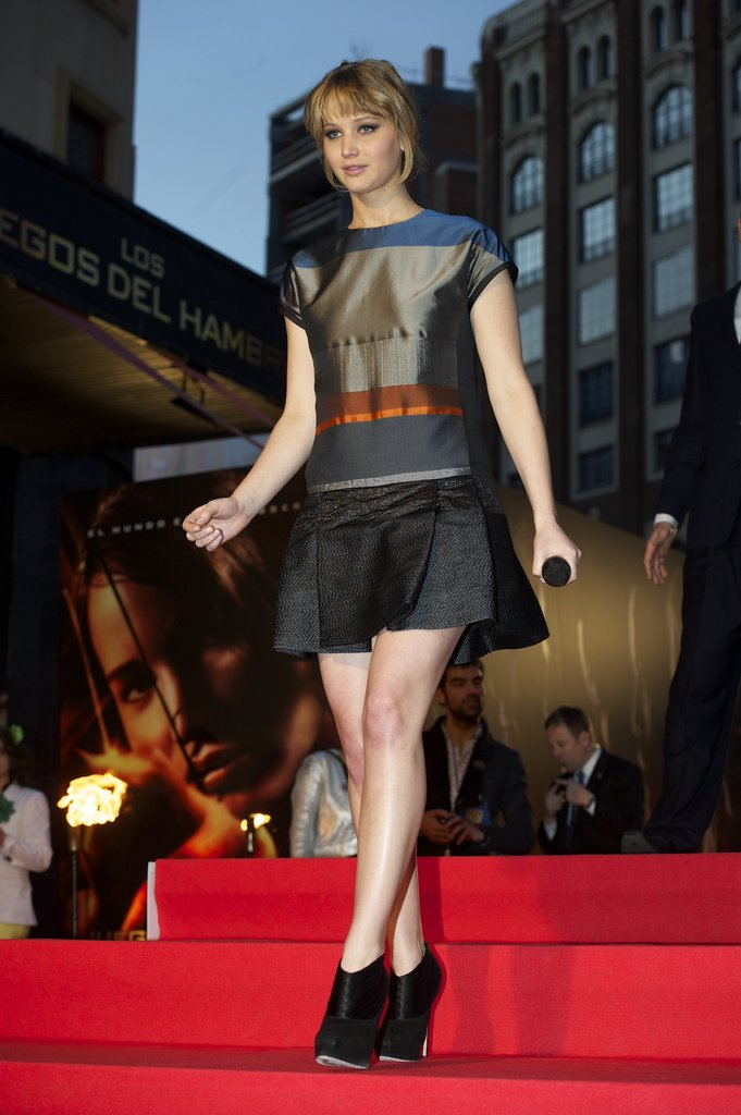 Jennifer Lawrence promoting The Hunger Games in Spain.