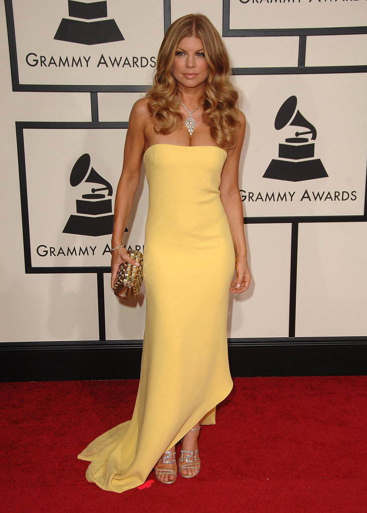 Fergie went for a cleavage-baring Calvin Klein Collection gown in a sunny yellow hue for the 2008 Grammys.