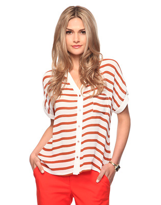 Pair this rugby stripe top with bright trousers for a bold, yet casual look.  Love 21 Striped Pocket Shirt ($25)