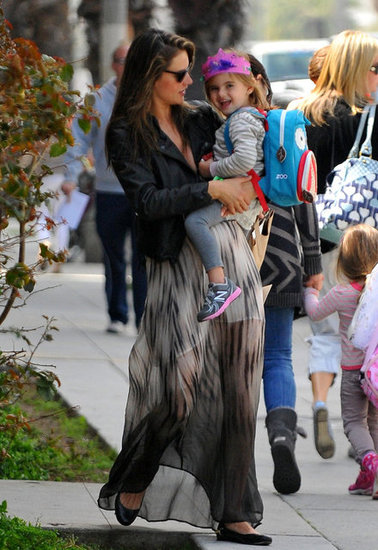 Anja Mazur got picked up from school in LA Thursday by pregnant mom Alessandra Ambrosio.