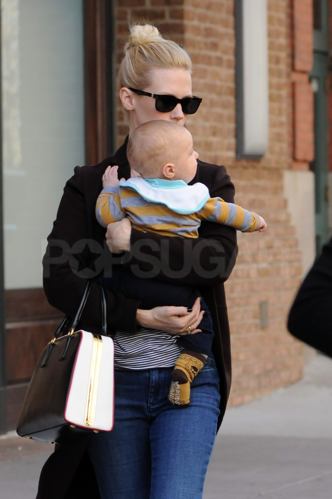 Xander got a lift from January Jones.