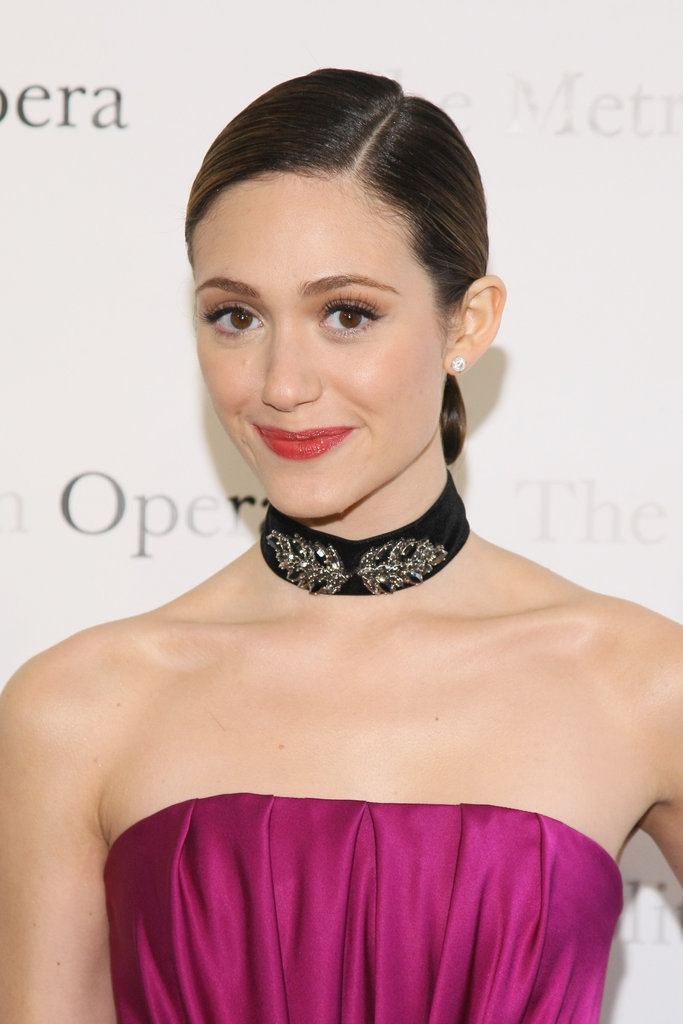 Emmy Rossum sported a black choker necklace to the Metropolitan Opera gala in NYC.