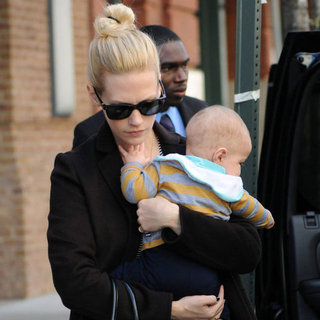 January Jones and Xander in NYC Pictures