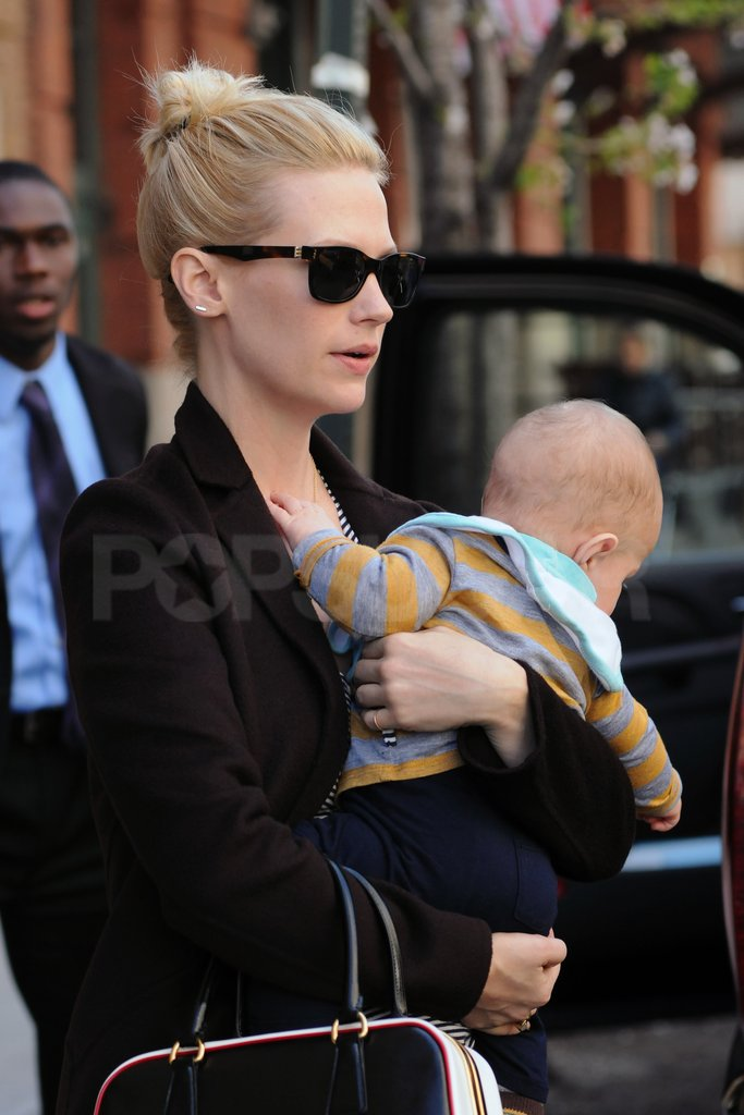January Jones wore dark sunglasses.
