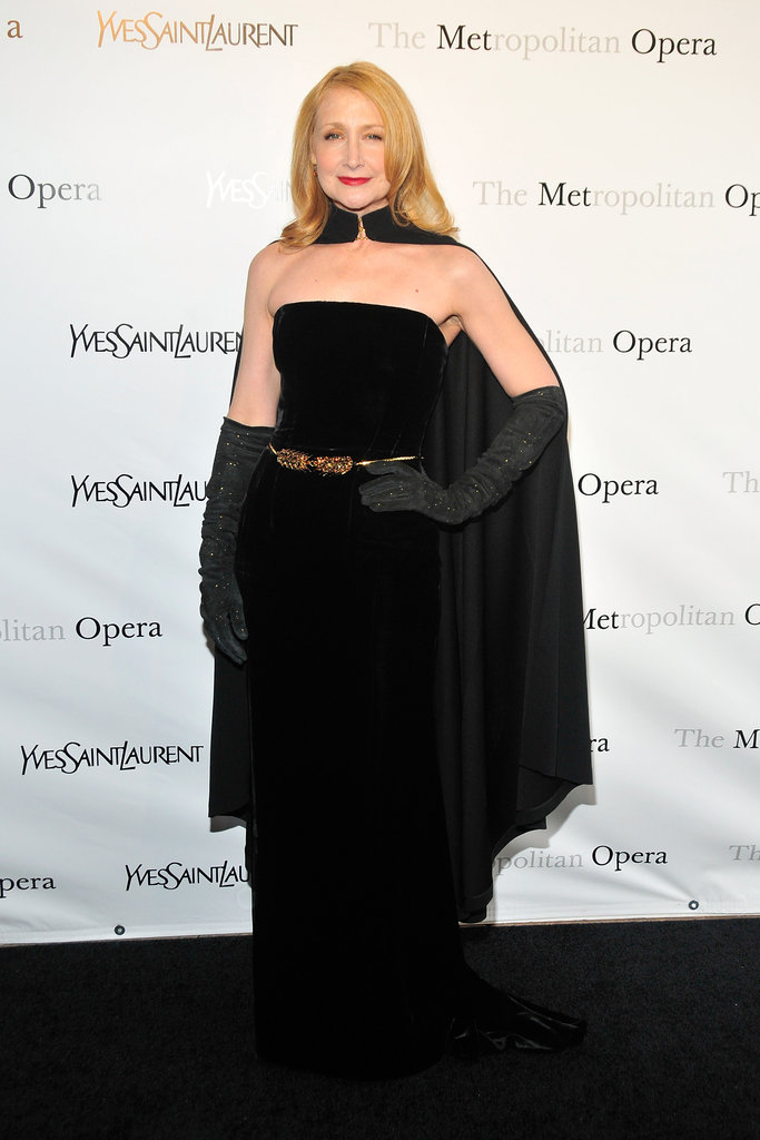 Patricia Clarkson wore a black cape number to the Metropolitan Opera gala in NYC.