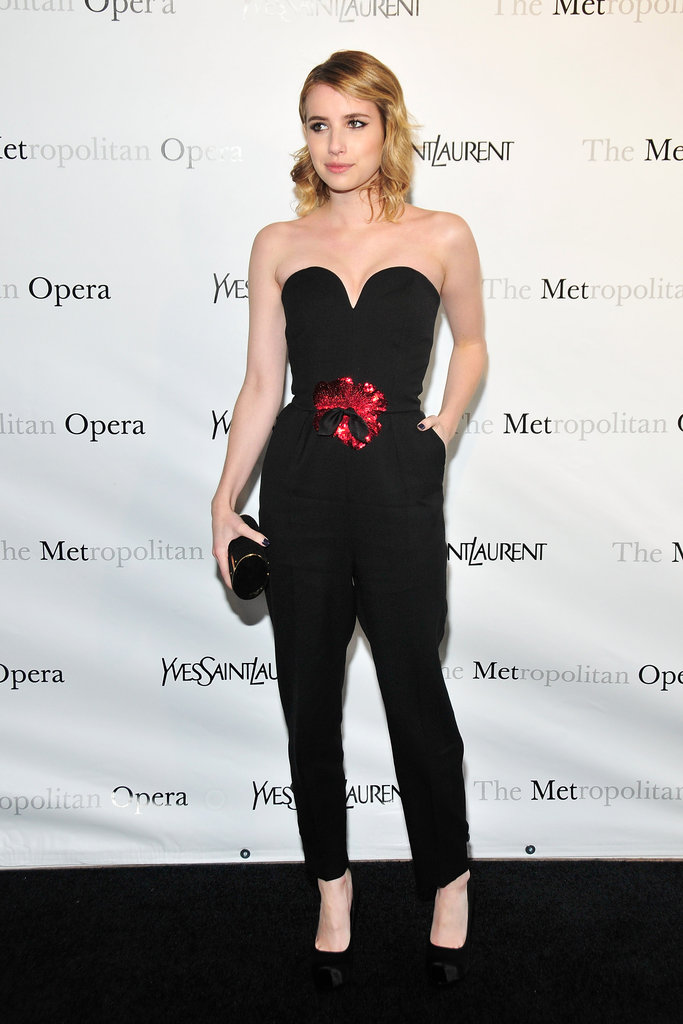 Emma Roberts wore a chic black jumpsuit to the Metropolitan Opera gala in NYC.