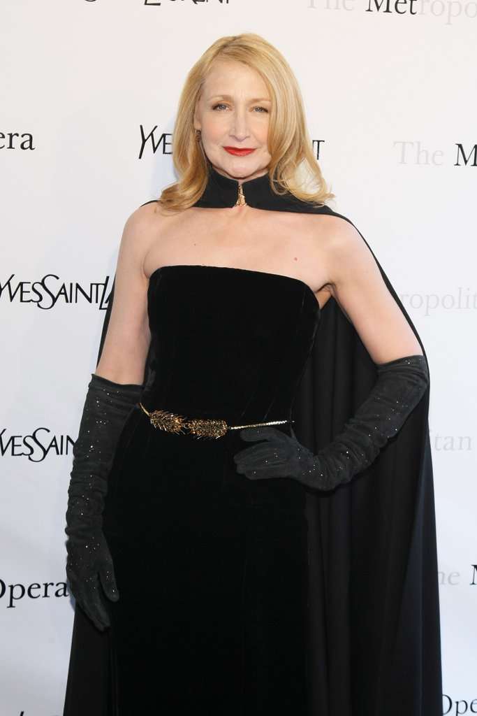 Patricia Clarkson wore a black cape to the Metropolitan Opera gala in NYC.