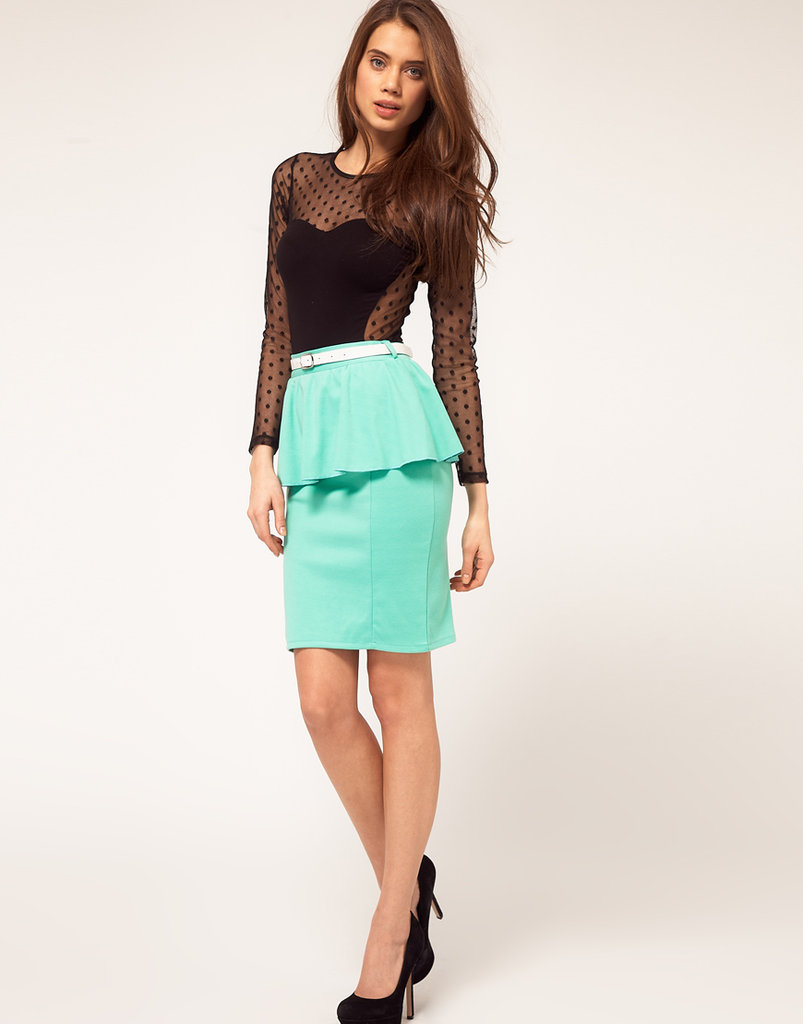 Just the right dose of peplum in Spring's pretty green pastel hue.  Paprika Peplum Belted Skirt ($57)