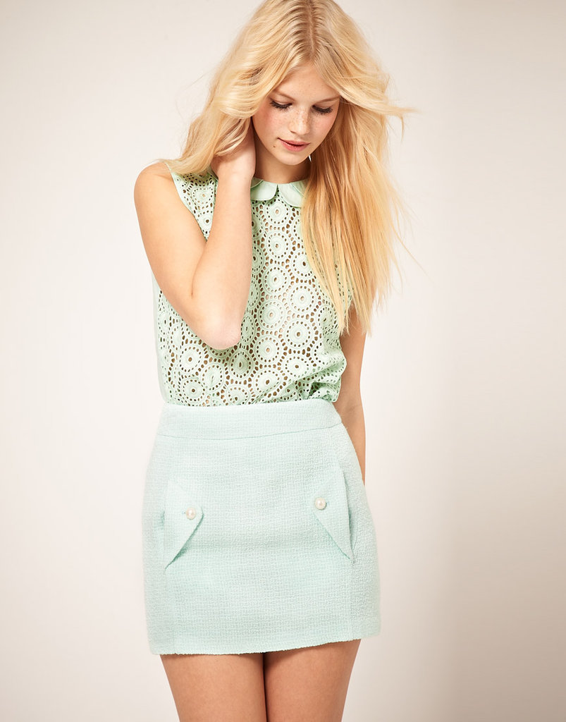 The prettiest mint-green blouse with a lacy texture that calls to mind Louis Vuitton's gorgeous Spring runway.  Asos Cotton Lace Blouse With Double Collar ($45)