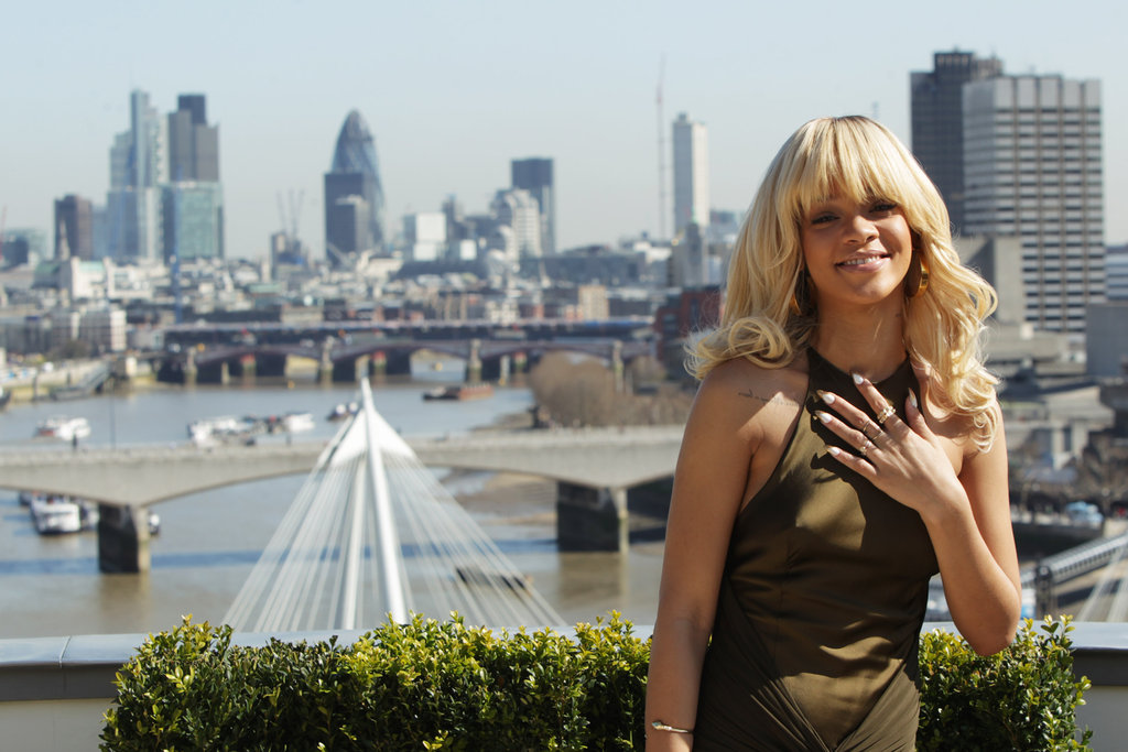 Rihanna enjoyed the view at the Corinthia Hotel at a photocall for Battleship in London.