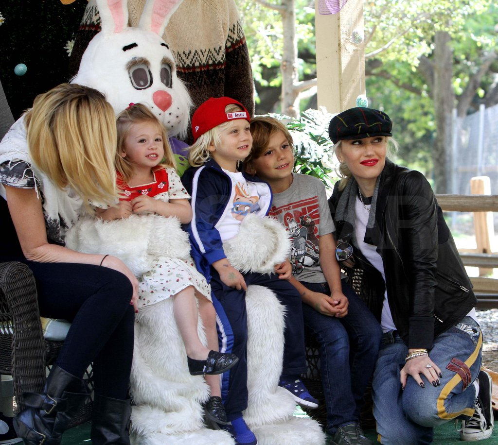 Gwen Stefani, Kingston, and Zuma posed with the Easter Bunny.