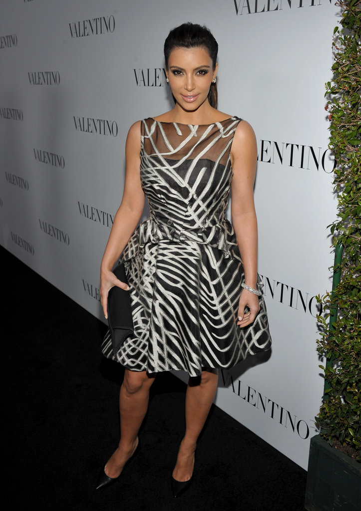 Kim Kardashian celebrated Valentino's 50th anniversary on the black carpet in LA.