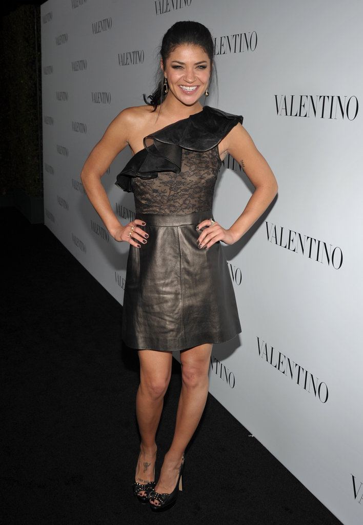 Jessica Szohr wore a lace and leather number to Valentino's 50th anniversary celebrations in LA.