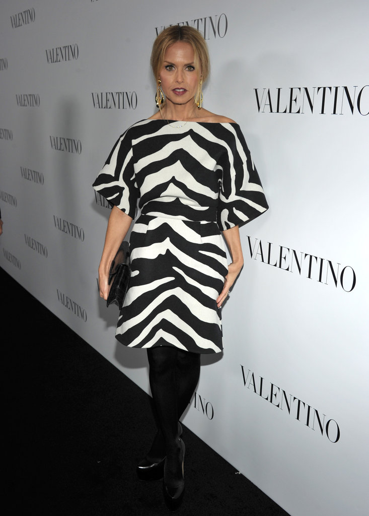 Rachel Zoe wore a zebra print dress to the celebrations for Valentino's 50th anniversary in LA.