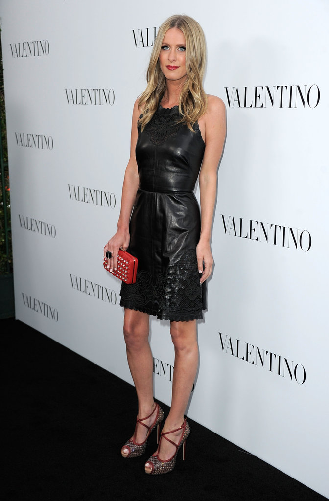 Nicky Hilton perfected the leather-dress look in a perfect-fit sheath and eye-popping add-ons.