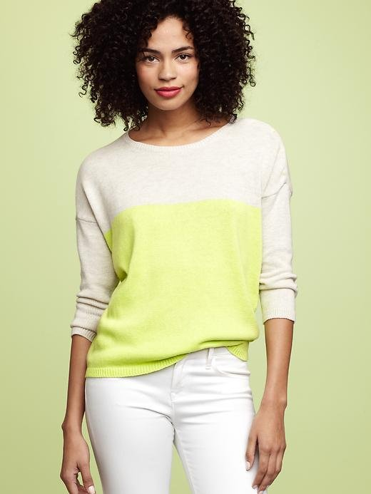 A slouchy, cool colorblocked sweater is a preppy Spring staple. Gap Colorblock Button-Shoulder Sweater ($40)
