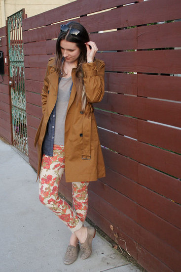 perfect trench + floral pants!