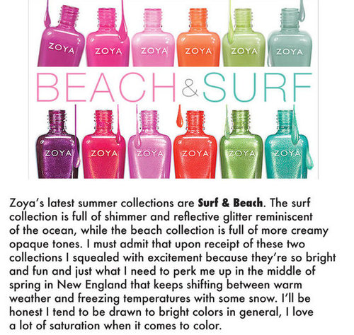 A breath of fresh air, Zoya's Beach and Surf summer collections.