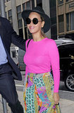 Beyoncé stepped out in a bright pink tee in NYC.