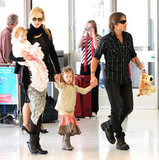 Nicole Kidman and Keith Urban flew out of an Australia with daughters Sunday and Faith.