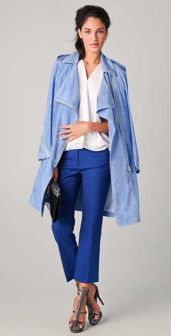 We love the idea of switching up our usual beige lightweight trench with this cool blue silk printed version. We'd like to pair it with skinny jeans or pretty floral dresses for a chic Spring transition look.  Phillip Lim Biker Trench Coat ($850)