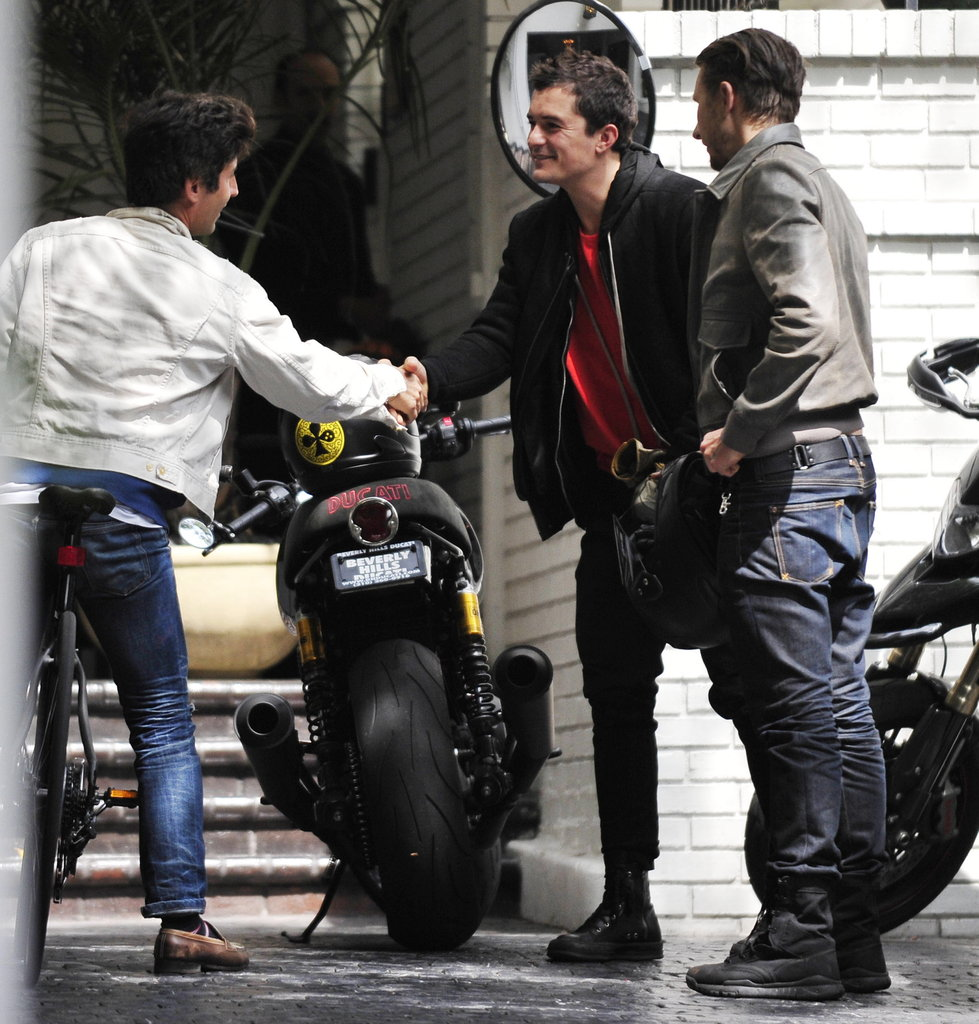 Orlando Bloom rode his motorcycle.