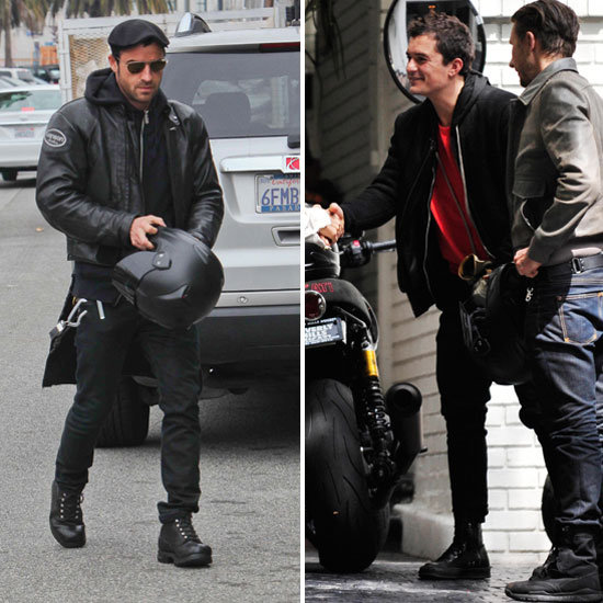 Orlando Bloom Meets Up With Justin Theroux For a Motorcycle Ride