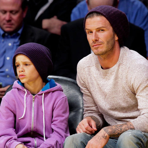 David and Romeo Beckham Pictures at Lakers Game
