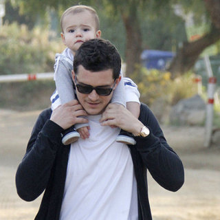 Orlando Bloom and Son Flynn Pictures Hiking