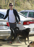 Orlando Bloom with his dog Sidi.