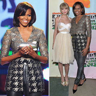 First Lady Michelle Obama Wears Sexy Leather Pants at the 2012 Nickelodeon Kids' Choice Awards