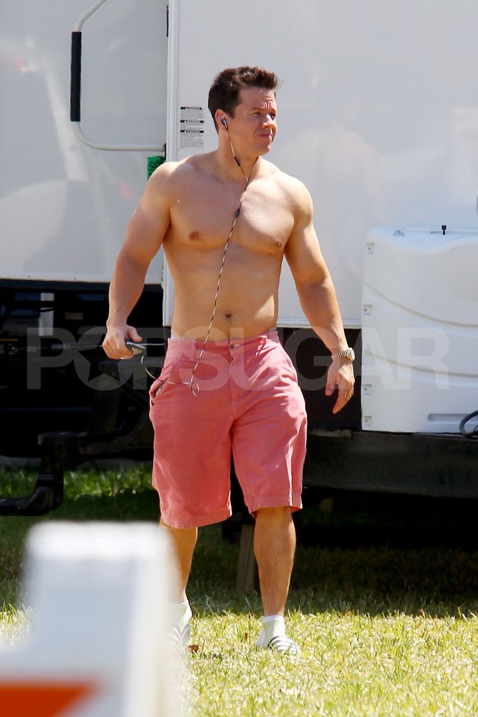Mark Wahlberg shirtless on set.