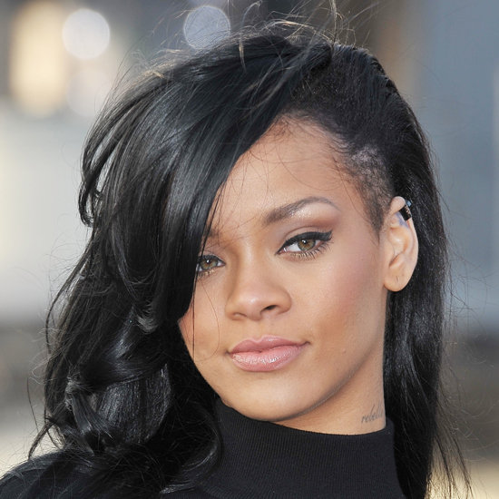 black little girl hairstyles ponytails : Rihanna Dyes Her Hair Black With Shaved Sides
