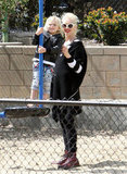 Gwen Stefani held Zuma on the swings at an LA playground.