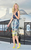 Brooklyn Decker wore a printed knot skirt at a Battleship photocall in Japan.