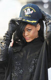 Rihanna sported new dark hair with a hat at a Battleship photocall in Japan.