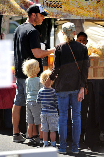 Naomi Watts and Liev Schreiber took their two sons, Sasha and Kai Schreiber, to the farmers market in Brentwood.