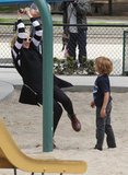 Gwen Stefani tried out the playground herself with son Kingston in LA.